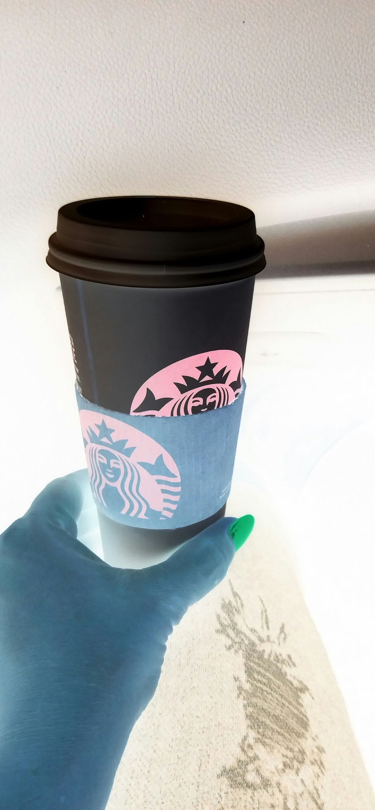 Starbucks ❤ Gives Me Life Coffee Cup Negative Effect Hand Nail Art Drink Coffee Time