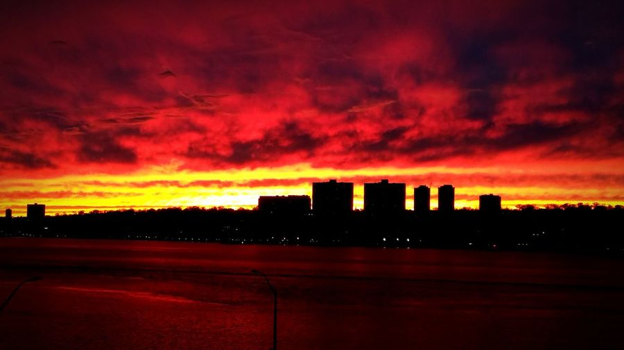 The sun setting the sky on fire in NYC. First Eyeem Photo