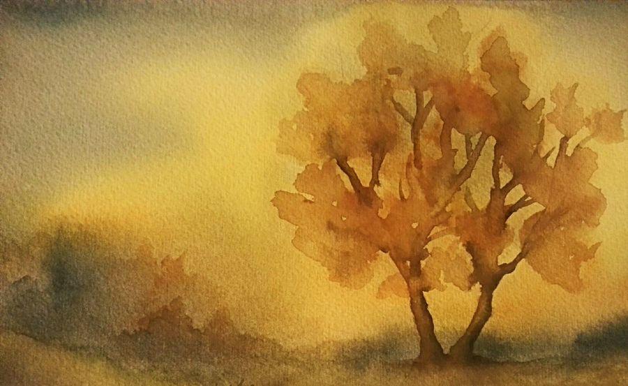 Wetterleuchten im Herbst . Aquarell 18 x 26 cm 1984 . Art Painting Watercolor Nature Trees Landscape Romantic Sky Mystery Light Evening Autumn Colors