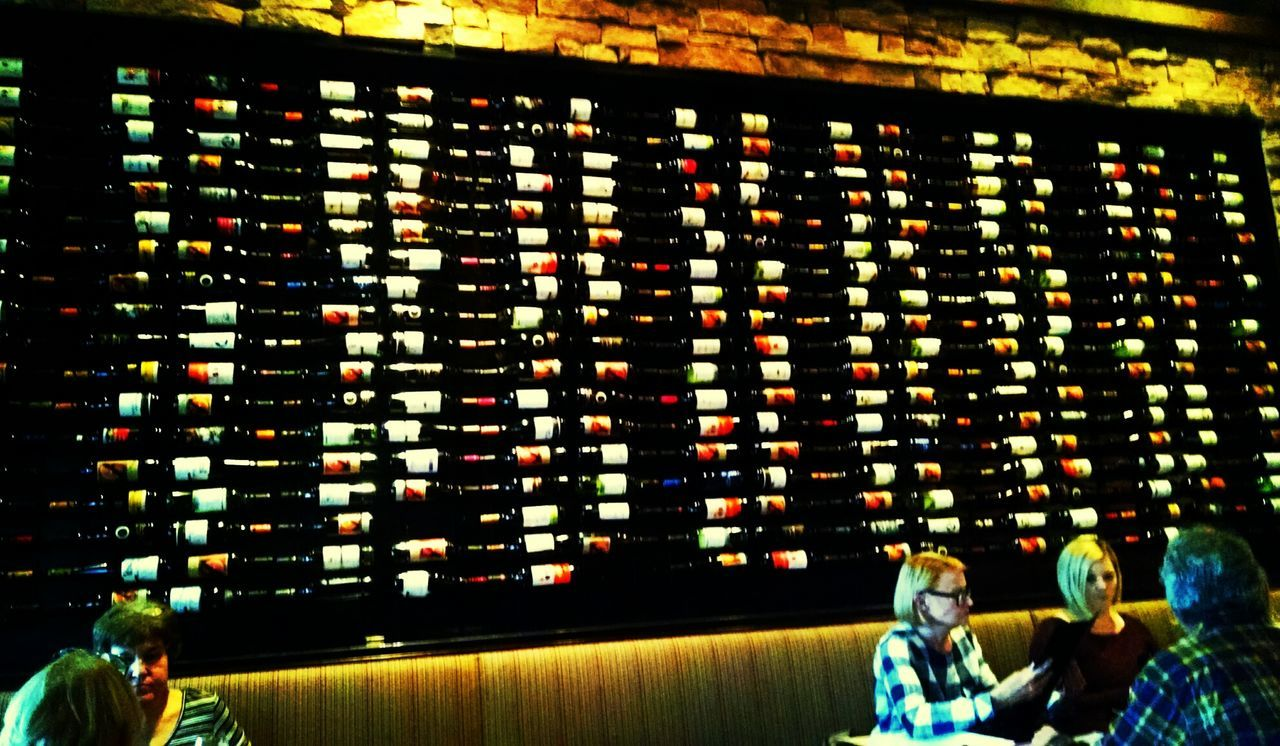 Great Atmosphere Great Wall Of Wine People Dinner For Two Date Night <3 Intetior Interesting Restaurant Decor Love Is In The Air