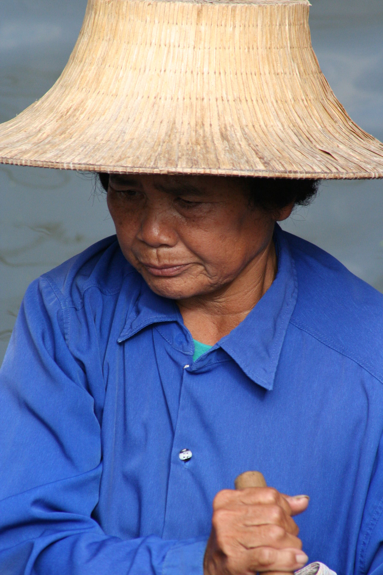 Blue Casual Clothing Close-up Day Floating Market Focus On Foreground Headshot Lifestyles Mature Adult Outdoors Person Portrait Senior Adult Thailand Up Close Street Photography