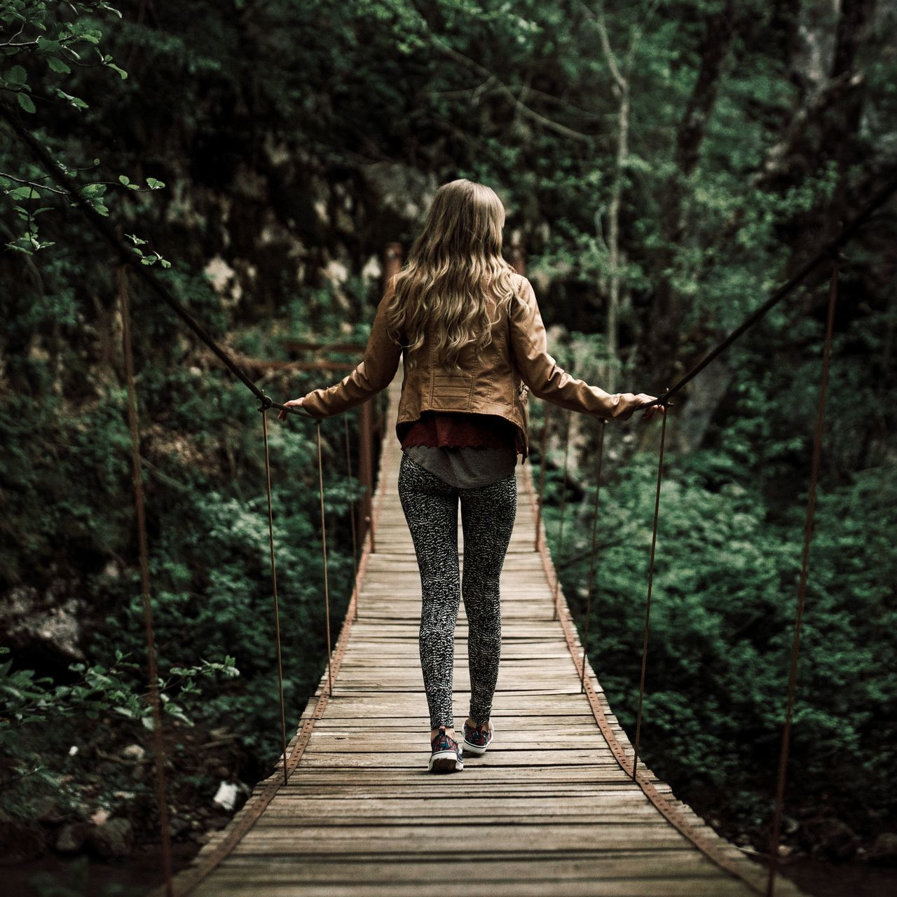 Beauty In Nature Blonde Day Forest Forest Photography Full Length Gate Girl Green Color Nature Nature Nature_collection One Person Only Women Outdoors People Real People Rear View The Great Outdoors - 2017 EyeEm Awards Travel Destinations Tree Walking Around Woman Young Adult Young Women