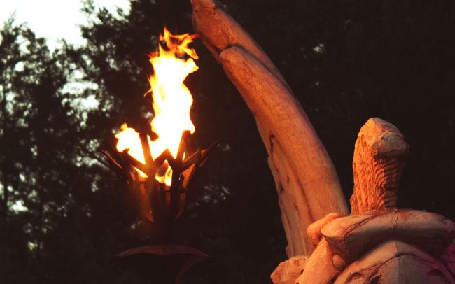 Bonfire Burning Flame Hot Light Lit Outdoors Statue Torch Torchlight