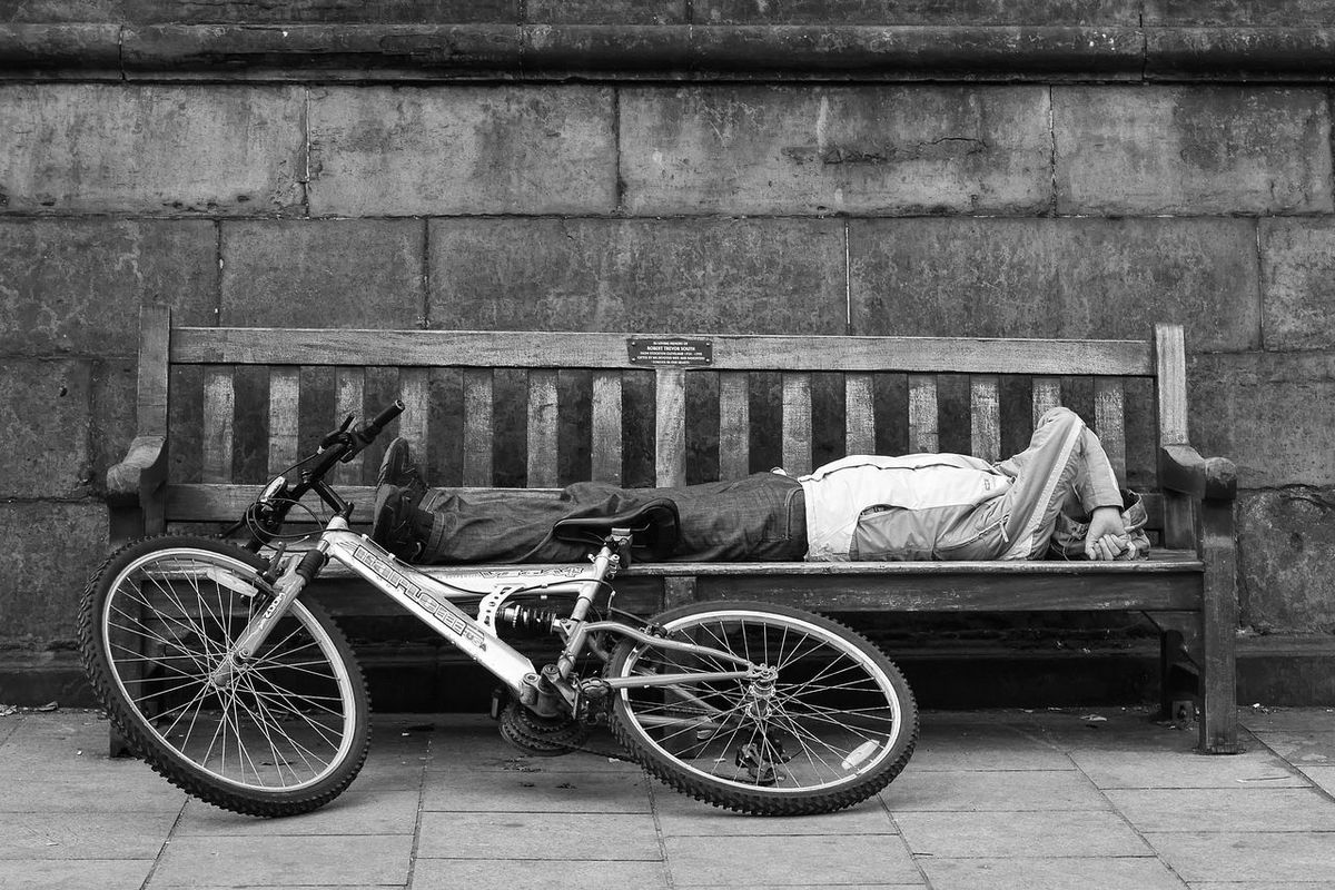 Bench Bicycle Black & White Black And White Black And White Collection  Black And White Photography Black&white Blackandwhite Blackandwhite Photography Grayscale Man mod Neighborhood Map e of transport Park Bench Pause Resting Sleeping Street Photography Streetphoto_bw Stretched Out Transportation Tired Reclining Exhausted Monochrome _ Collection The Street Photographer - 2017 EyeEm Awards Let's Go. Together.