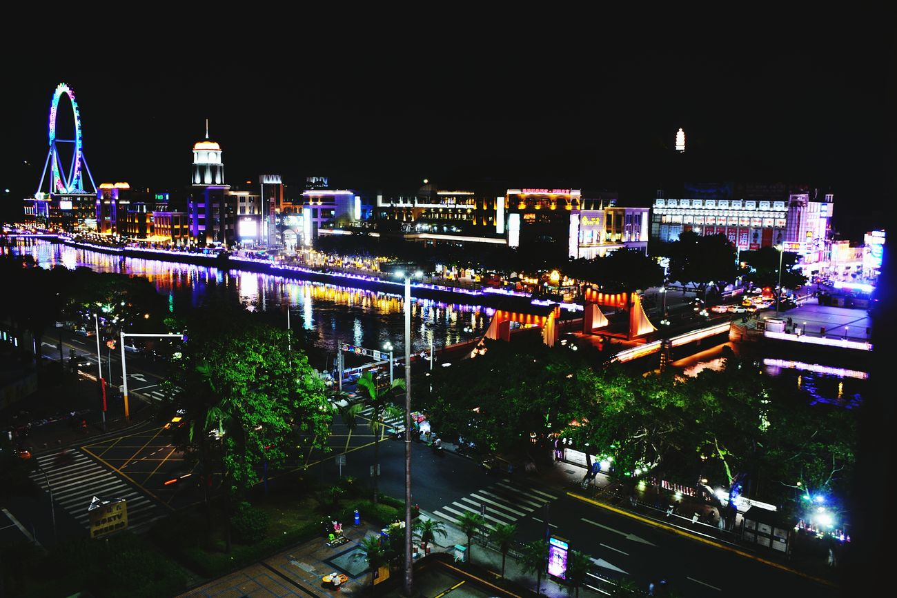 China Traveling China Photos Night Travel Photography Neon Lights My Travel  Neon Sign Night Lights In The Evening At Night UrbanZhongshan, China Ferris Wheel Sky Wheel Shiqi Nightphotography Night View Bridge Bridge View Buildings Building River Riverside River View