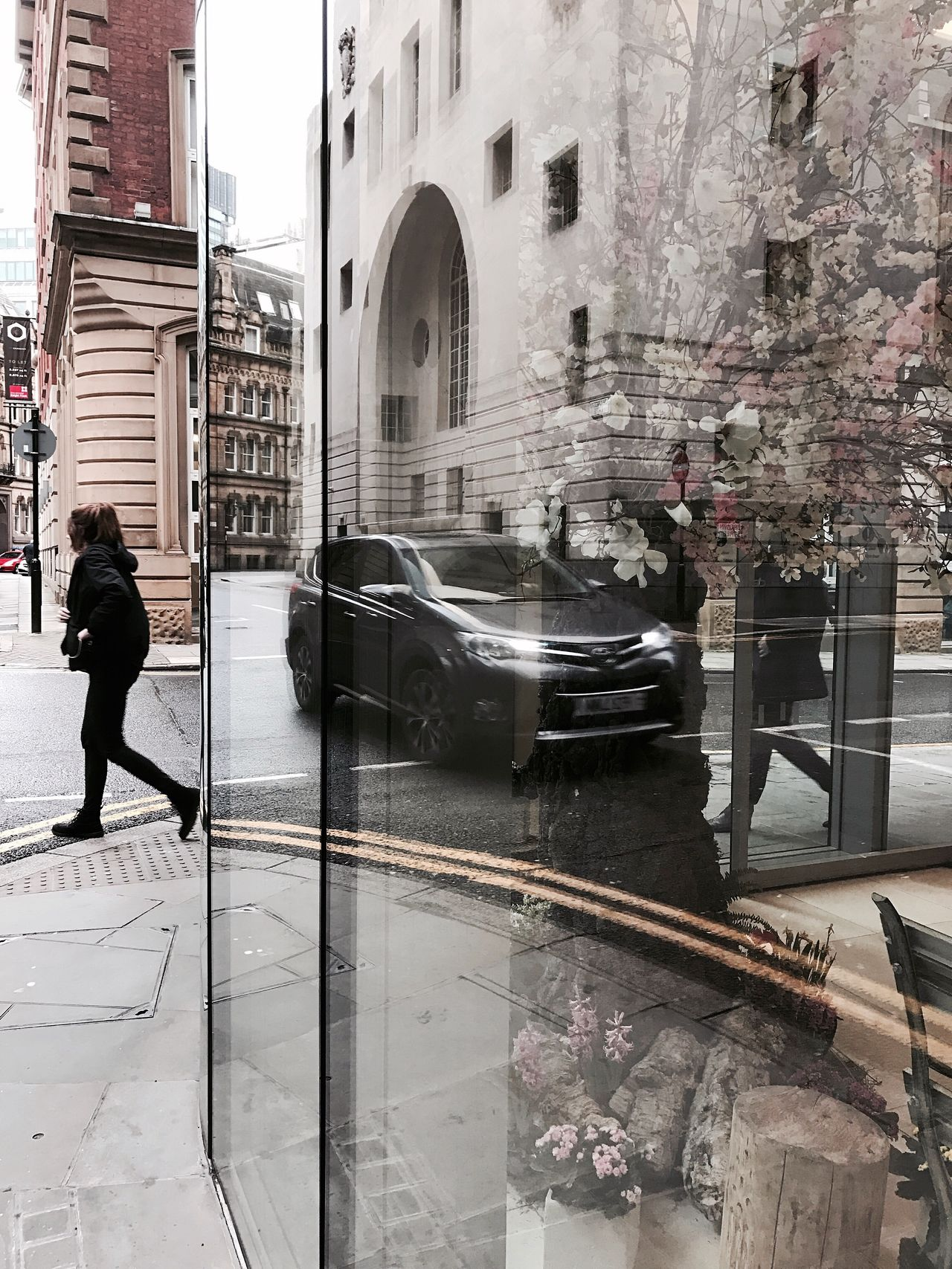 Reflections of life Building Exterior Architecture Built Structure Walking One Person Transportation City Full Length Real People Car Mode Of Transport Women Girl Life Capture The Moment Moments Lifestyles Life In Motion Reflection Land Vehicle Adults Only Day People Outdoors Adult