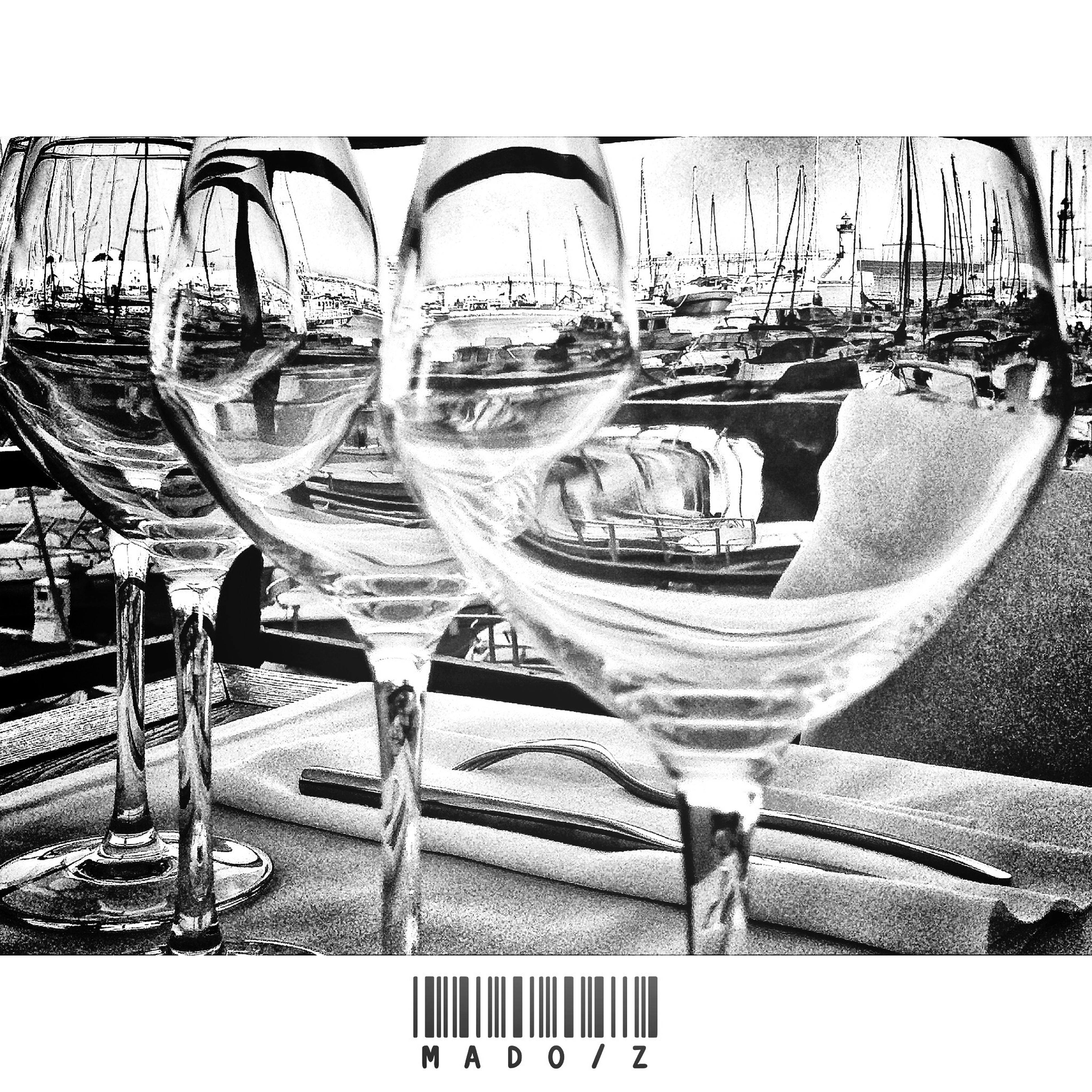 transfer print, glass - material, reflection, auto post production filter, day, chair, transparent, indoors, clear sky, table, metal, close-up, sunlight, sunglasses, large group of objects, cold temperature, railing, in a row