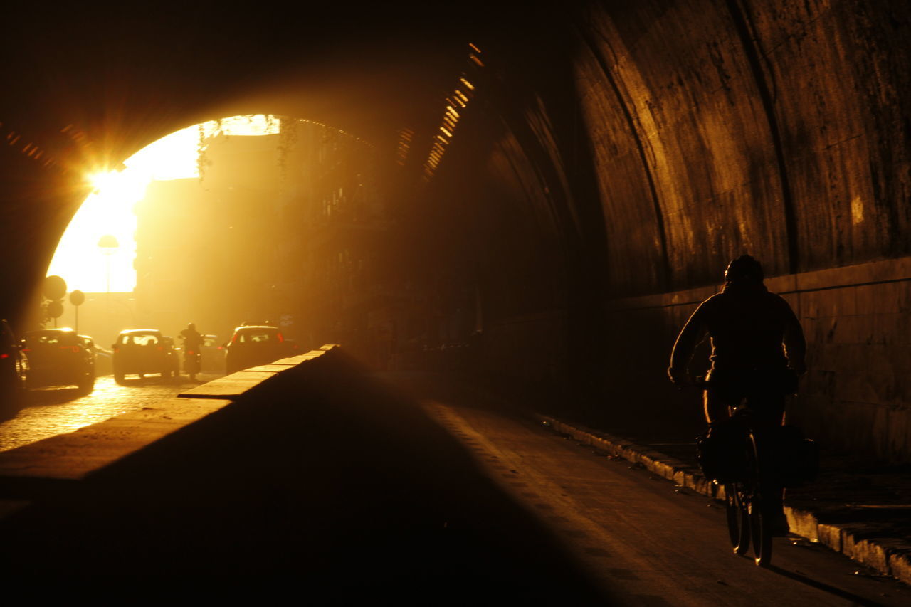 One Person Outdoors Only Men People One Man Only Smog Smog In The Sky Smog In The Morning Napoli Italy Naples Photo Tunnel Tunnel Vision Italia Napoli_foto Urban Geometry Motion Backgrounds Architecture EyeEmNewHere City Urban Skyline Inquinamento Bike