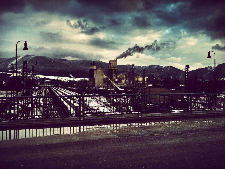Railway IndustryChimney Rails Bridge Reflections Clouds Dramatic Sky Mountains Varín Industrial Landscapes Slovakia Showcase: February Winter Smoke