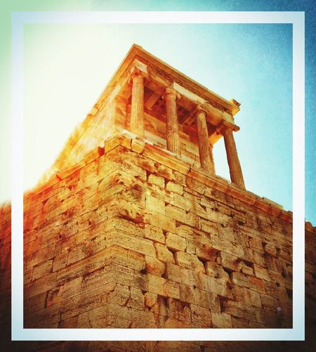 The unique Acropolis of Athens Low Angle View Architecture Transfer Print Auto Post Production Filter Built Structure Building Exterior History Angle Outdoors Sky Day Historic Architectural Column No People Weathered Beautiful Beauty Non-urban Scene Tranquil Scene Travel Destinations Travel Beautiful ♥ Wonderful Amazing Artistic Photo