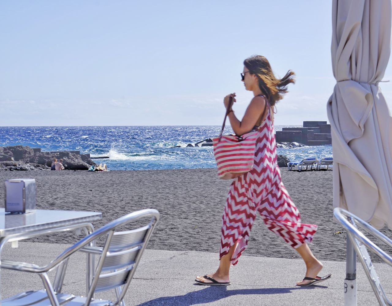 Sea Beach Full Length Leisure Activity Horizon Over Water Sky Summer Vacations One Person Outdoors Day One Woman Only Blue La Palma Island Los Concajos