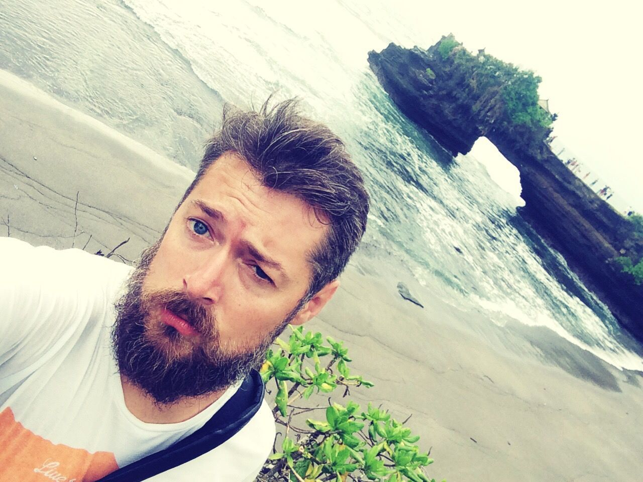 Selfie At Tanahlot Temple , bali , Indonesia