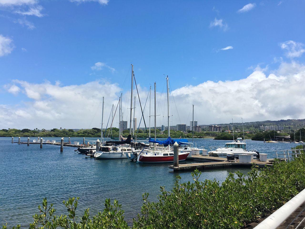 Honolulu  Boats Harbor Hawaii Oahu Sunny Clouds