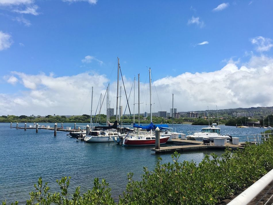 Honolulu  Boats Harbor Hawaii Oahu Sunny Clouds