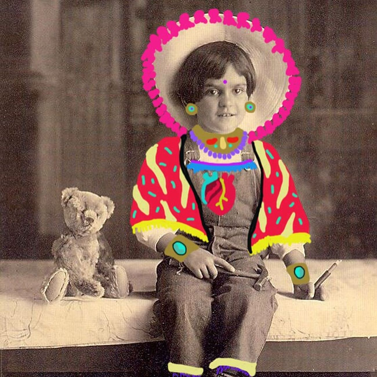 Young Frida, 1913 Frida Kahlo Illustration Colors mexico draw heart clorophillaart