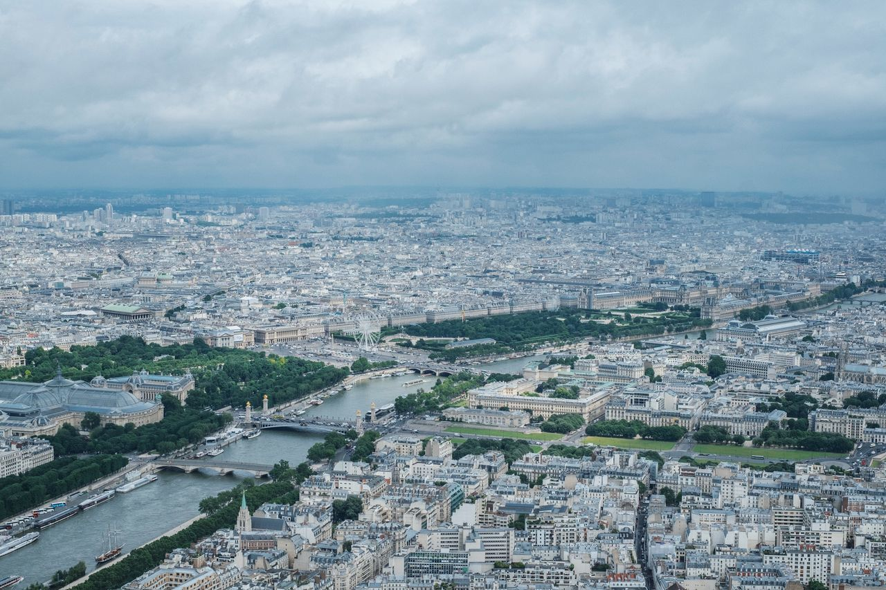 Aerial View Architecture Beauty In Nature Building Exterior Built Structure City Cityscape Cloud - Sky Day High Angle View Nature No People Outdoors Paris Paris, France  Sky Travel Tree Urban Skyline
