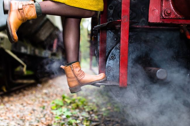 The Beauty & the Machine / from my Autumn Sessions series - 50mm - no filter - real hot engine steam   more on Instagram TakeoverContrast Autumn Autumn Colors Side View Sitting Playing Person Casual Clothing Day Innocence Locomotive Steam Transportation Outdoors My Favorite Place Focus On Foreground Low Angle View Lifestyles Discovering Herbst Descending EyeEm Nature Lover Urban AutumnSessions