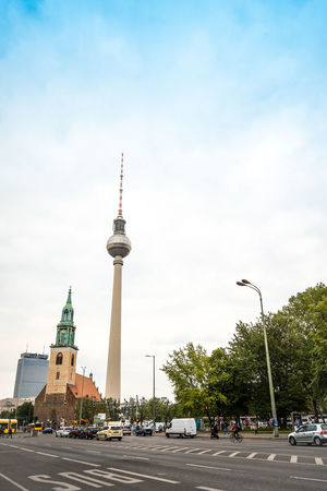 Architecture Built Structure Capital Cities  City Cloud Cloud - Sky Communications Tower Culture Day Famous Place Fernsehturm Landmark Outdoors Road Sphere Spire  Street Light Tall Tall - High The Way Forward Tourism Tower Travel Destinations Tree TV Tower