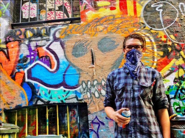Melbourne Graffiti Spraypaint Buffalo Soldier Bandana Street Art Living Bold Color Portrait Make Magic Happen The Portraitist - 2015 EyeEm Awards Ipadphotography Picturing Individuality Up Close Street Photography