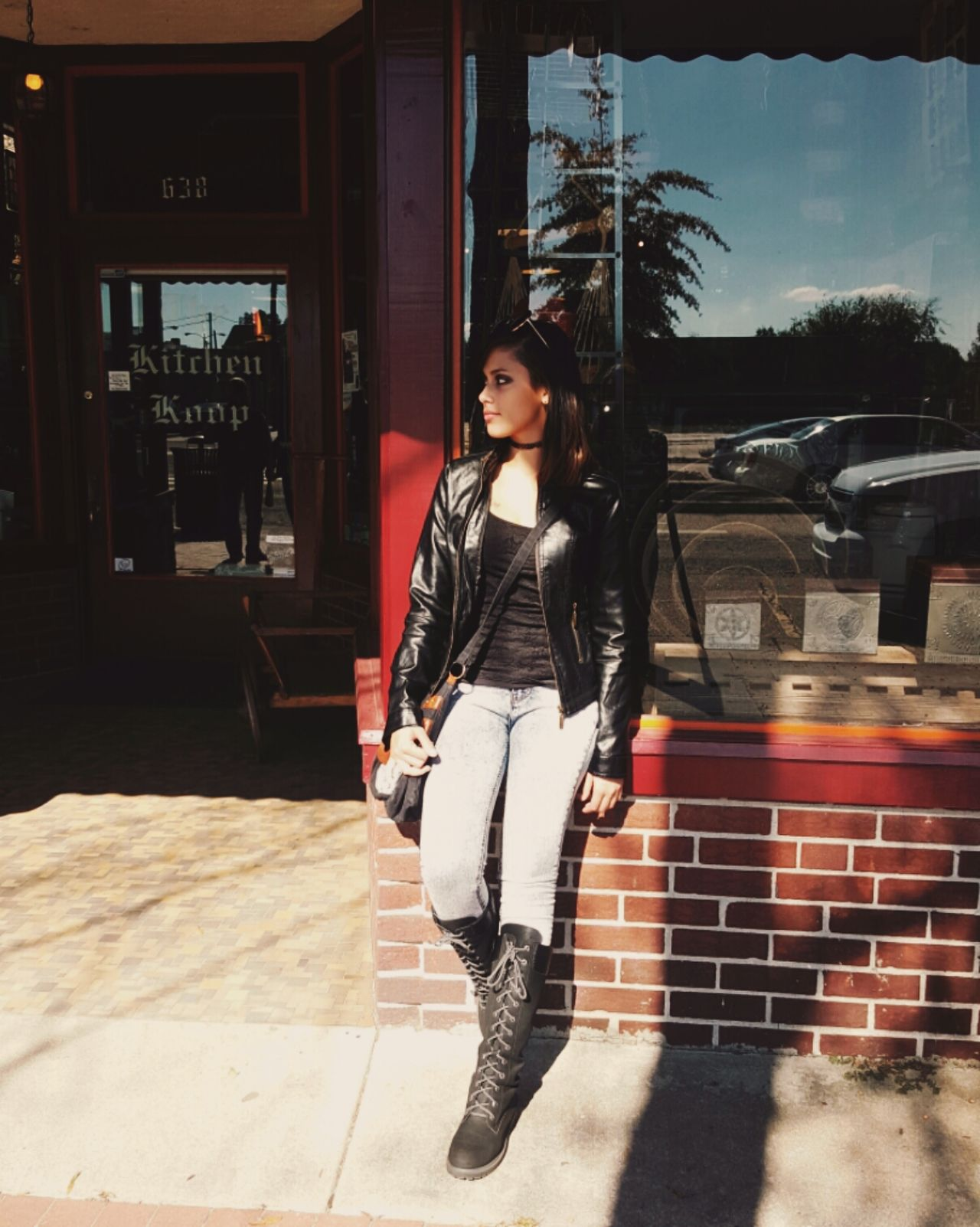 Casual Clothing Built Structure Outdoors Beauty Young Woman Leather Jacket Boots Brick Wall Chill Badass Hipster Bad Girl  Casual
