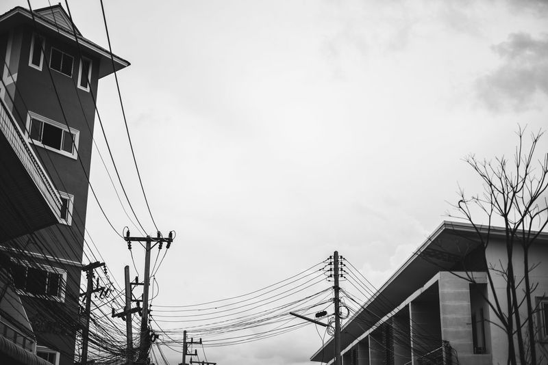 Cleary more than busy Thailand Electric Wire Sky Sky And Clouds Clear Sky