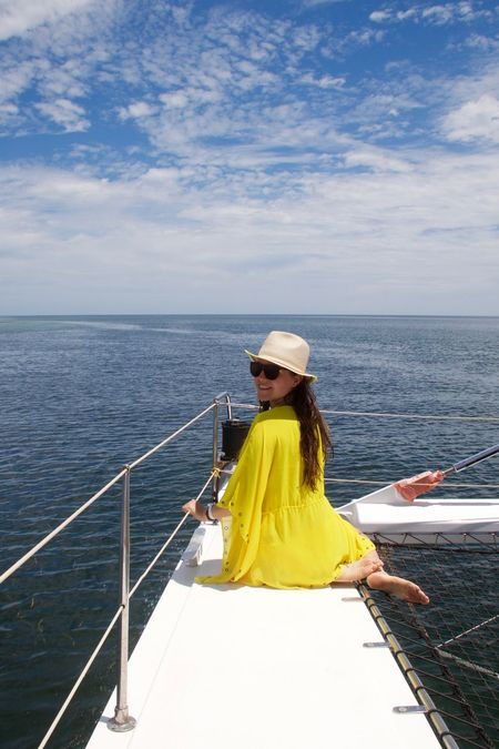 Catamaran Cuba Summertime Travel Vacations Beautiful Woman Full Length Horizon Over Water Nautical Vessel Ocean One Person One Woman Only One Young Woman Only Sea Summer Vacations Water Women Yacht Yellow Color Young Adult Young Women
