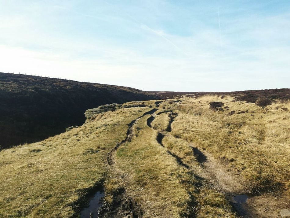 Nature No People Scenics Outdoors Sky Landscape Day Nature Reserve Green Color Grass Rugged Beauty Countryside Yorkshire Betterlandscapes Tranquility Wiggly Lines Paths Cracks Landscapes Environment Tranquil Scene Nature Moors Beauty In Nature Winding Road