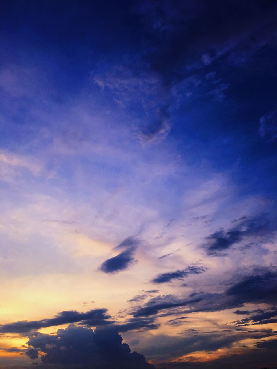 nature, beauty in nature, sky, sunset, scenics, tranquility, tranquil scene, no people, cloud - sky, low angle view, blue, sky only, backgrounds, outdoors, day