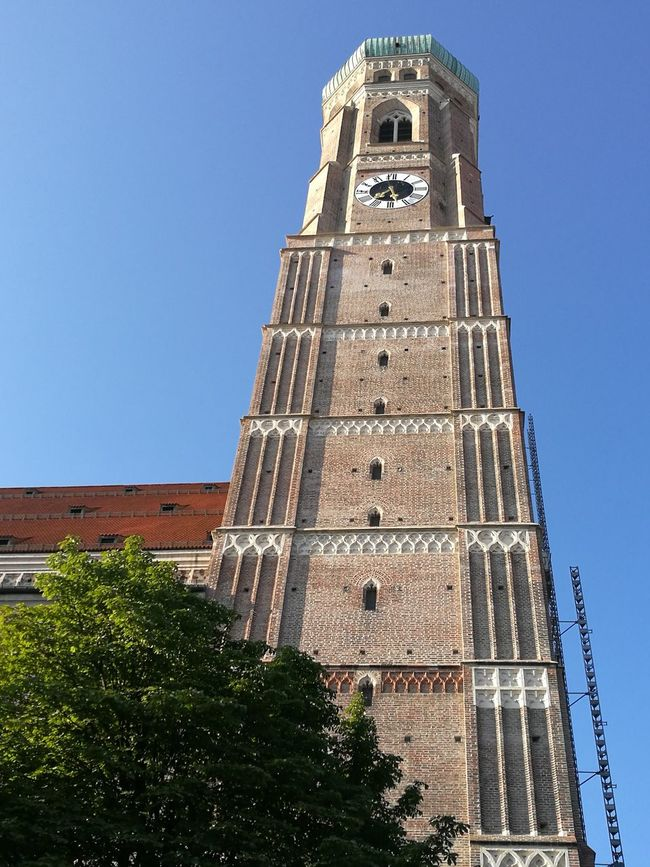 Tower Architecture Clock Tower Clock Low Angle View History Travel Destinations Tree Built Structure Bell Day Building Exterior Sky Outdoors Blue No People City Clock Face München Munich Vacations Sightseeing Prospect Church Frauenkirche München