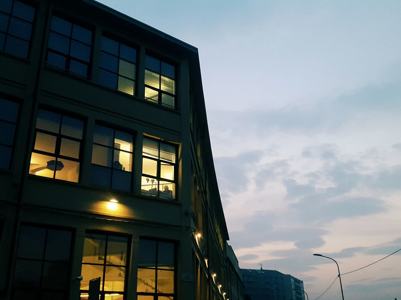 Architecture Built Structure City Street Office Building Exterior Office Lights Work Activity Dusk City Business