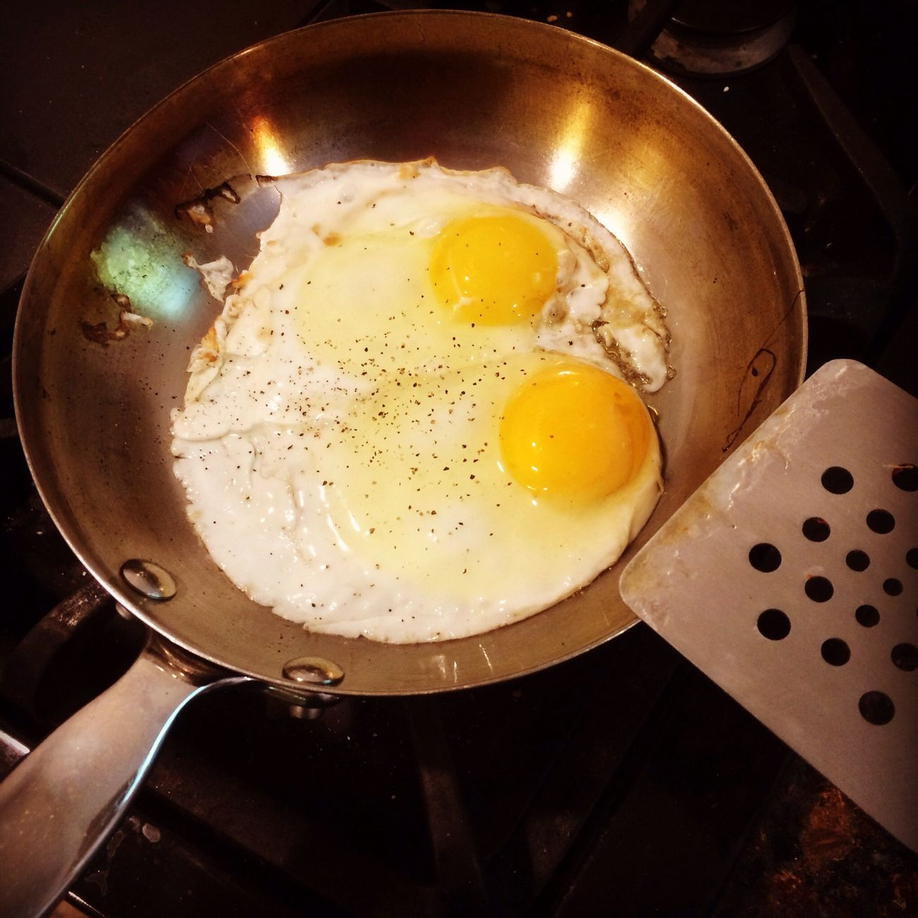 Fried Eggs Cooking Kitchen Breakfast