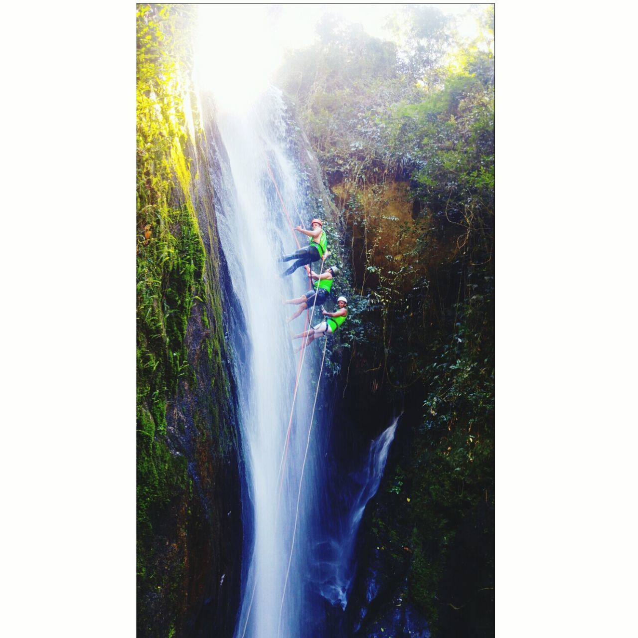waterfall, forest, day, outdoors, motion, nature, water, scenics, beauty in nature, tree, travel, vacations, travel destinations, clear sky, no people, spraying, mountain, sky