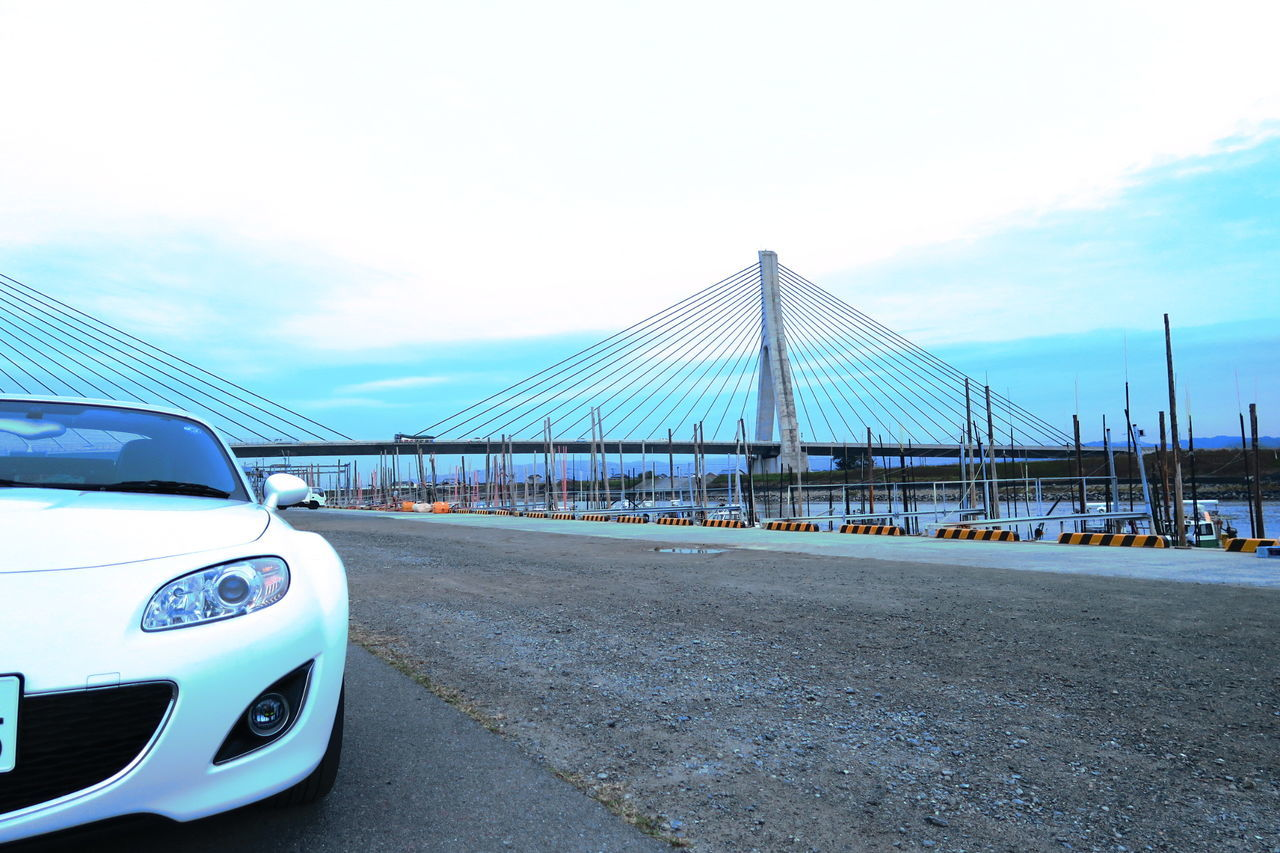 ロードスター 自動車 MX-5 Roadster 矢部川大橋 有明海沿岸道路 柳川 Japan Bridge Car マツダ Mx5 Miata Riverside River Sky Motorsport Mazda