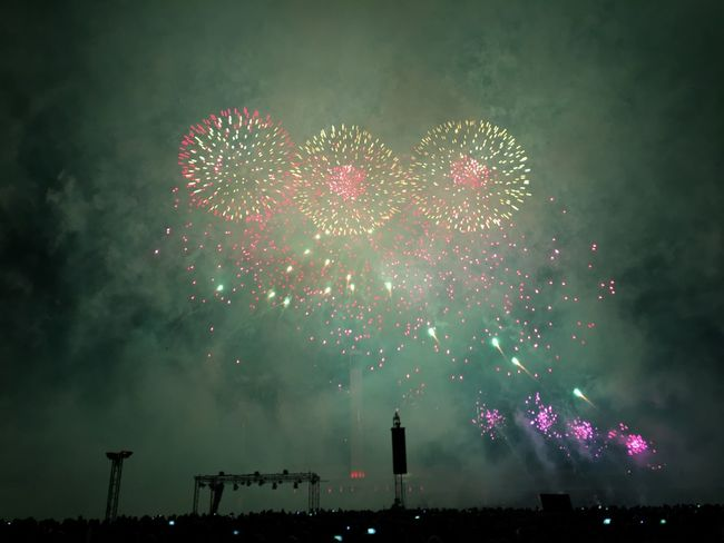 Arts Culture And Entertainment Celebration Entertainment Event Exploding Firework - Man Made Object Firework Display Glowing Illuminated Lit Long Exposure Low Angle View Motion Multi Colored Night No People Outdoors Pink Color Red Scenics Sky Sparks
