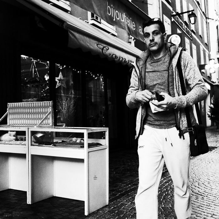 Noir Et Blanc Adult Blackandwhite Casual Clothing Day Front View Lifestyles Looking At Camera Men One Person Outdoors People Real People Street Photography Streetphotography