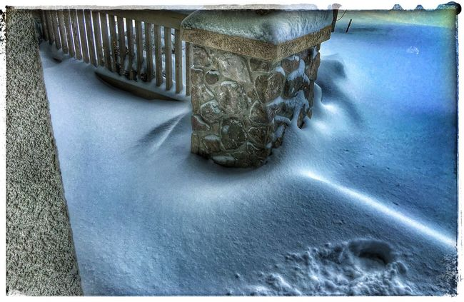 My front porch. There is a stair step on the right side hidden by snow. Check This Out Winter Photography COCS Photography Colorado Springs, CO EyeEm Winter Shot Winter 2016 Captured In Colorado Springs It's Cold Outside IPhone 6s Plus IPhoneography Snow Day ❄ Snowpocalypse Snow Porn