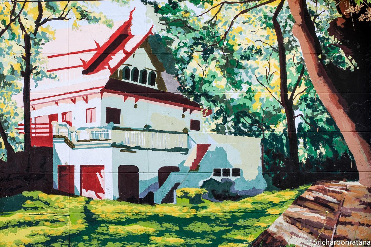 Outdoors Tree Day No People Architecture Nature Building Exterior Painting Art Wall Art