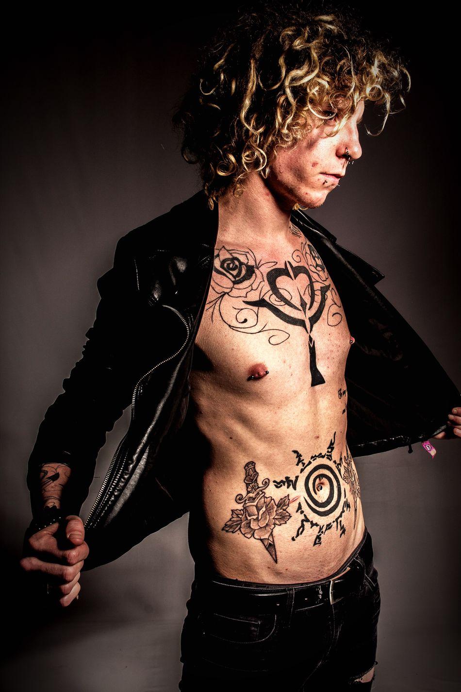 Tattoo Human Body Part Fashion Blond Hair Adult Portrait Indoors  Black Background Photographer Wolverhampton