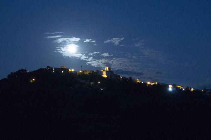 Abruzzo City Cityscape Dark Illuminated Italy Light - Natural Phenomenon Moon Night Perano Supermoon Supermoon 2014