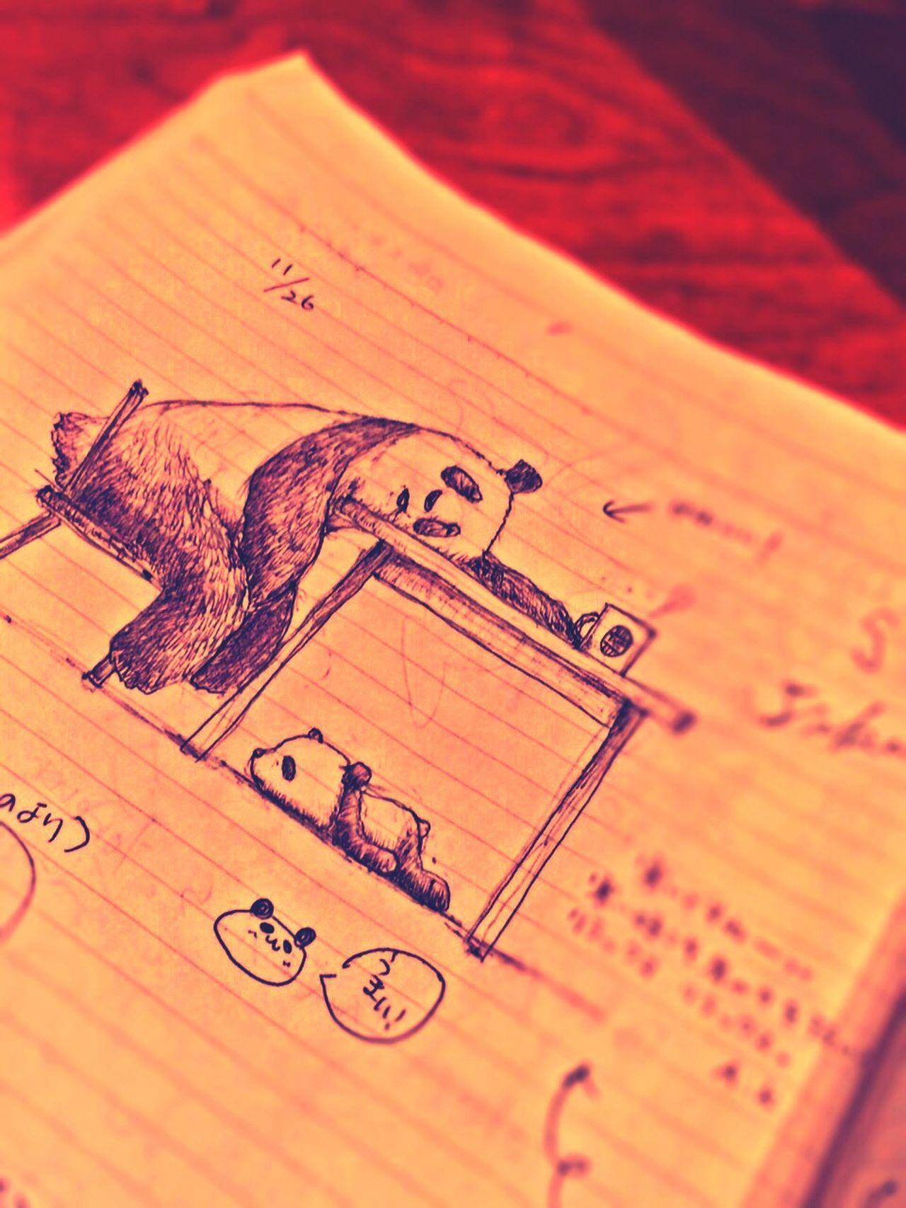 新宿のTULLY'S COFFEEにて。たまにダイニングでこうして寝てしまっていること、誰かに描かれたかと思いました?? Drawing Panda Graffiti Book
