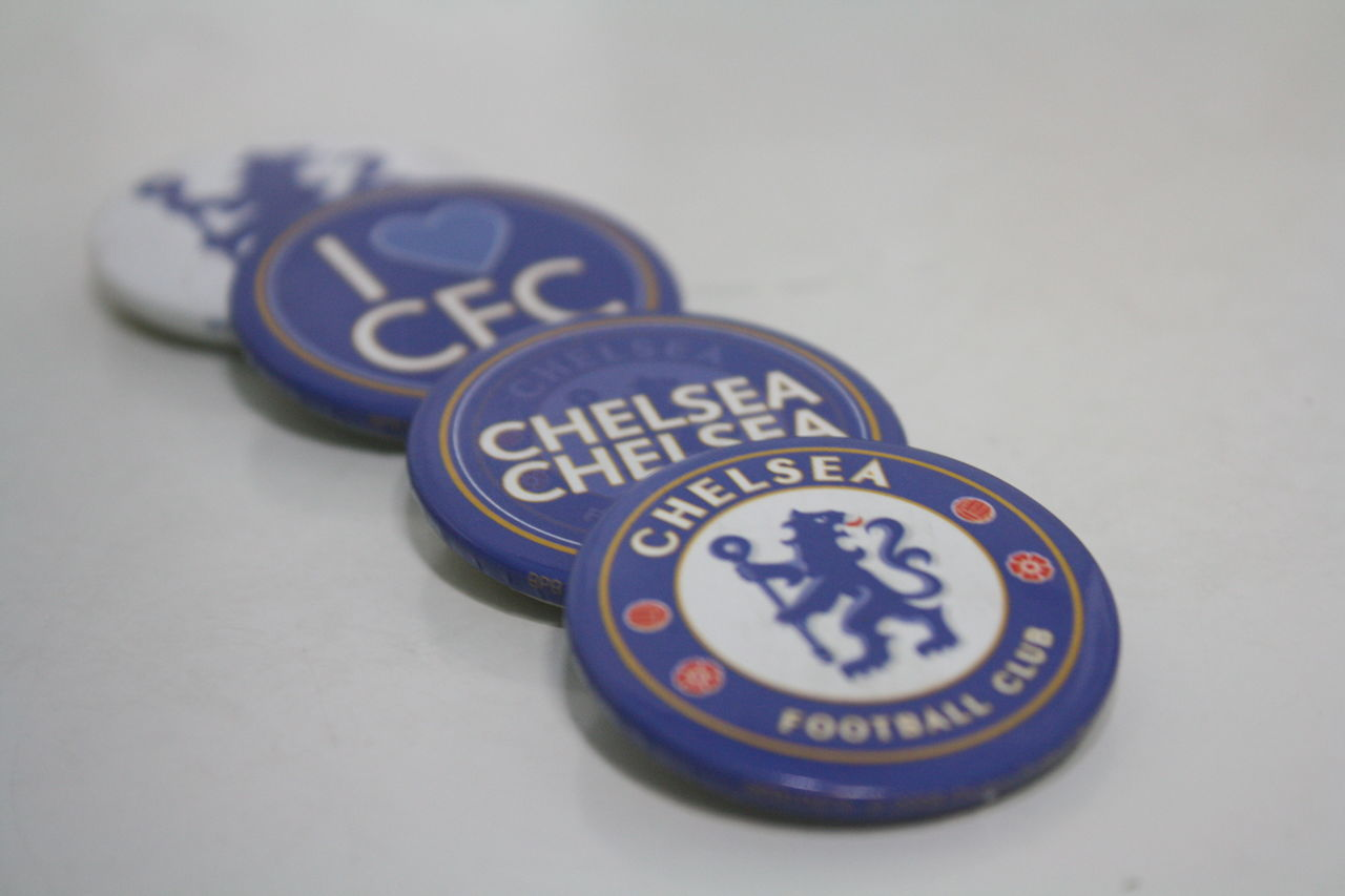 Chelsea Football Club merchandises Badges Blue Chelsea Chelseafc Close-up Day Indoors  Megastructure No People Symbol Text Textured  White Background
