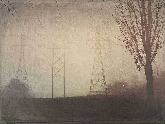 Landscape Landscape_Collection Daybreak High Power Lines Mextures Monochrome Digital Painting Mood Bleak