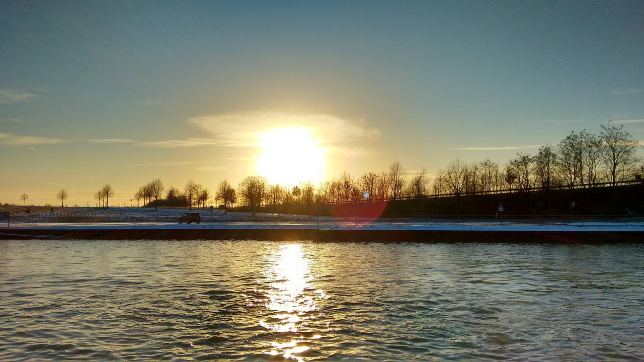 Sunset Reflection Water Silhouette Sky Tree Nature No People Tranquility Outdoors Scenics Sun Beauty In Nature Day EyeEm Nature Lovers Wintertime