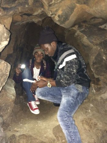 With my friend in the caves examining the rocks Hello World