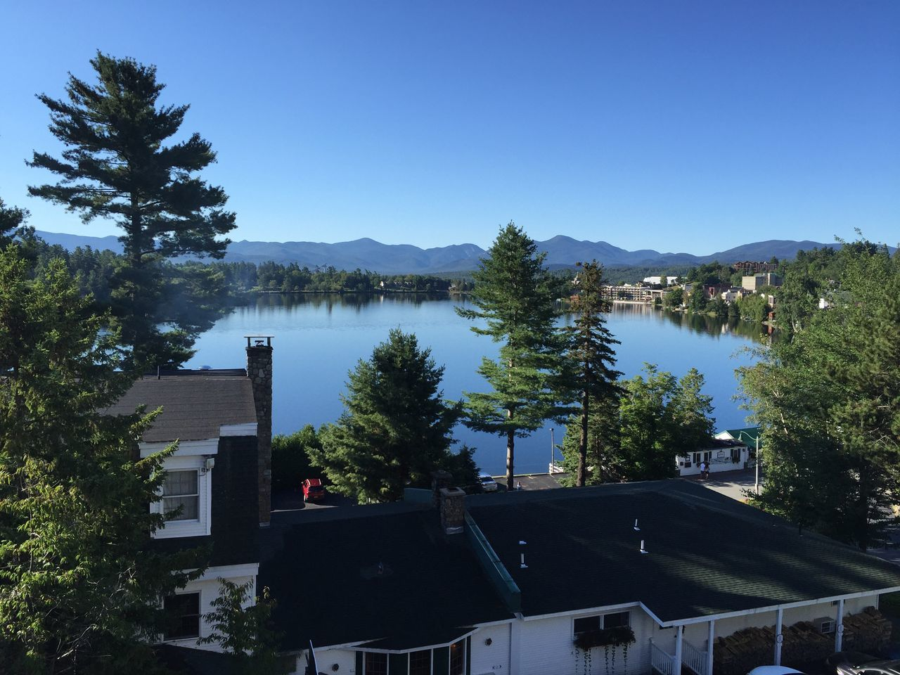 Lake Placid Mirror Lake Lake Water Adirondack Mountains Tree Building Exterior Built Structure Clear Sky Architecture House Beauty In Nature Nature Outdoors Growth Sky No People Day Tranquility Scenics