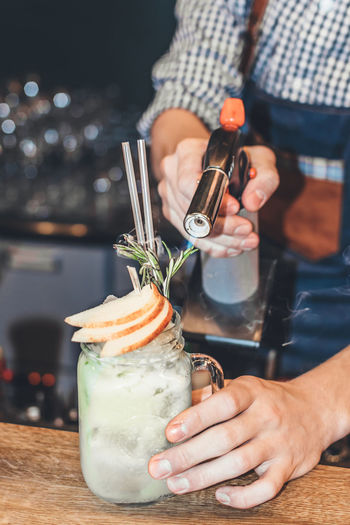 Bar Bartender Close-up Coktail Drinking Drinks Filter Food Food And Drink Hand Hands At Work Human Finger Indoors  Party Time Preparation  Table