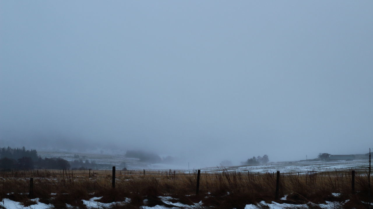 Beauty In Nature Cold Temperature Day Farmland Fence Fog Foggy Landscape Misrata Nature No People Outdoors Scenics Sky Snow Tomintoul Tranquil Scene Tranquility Winter Winter Scene