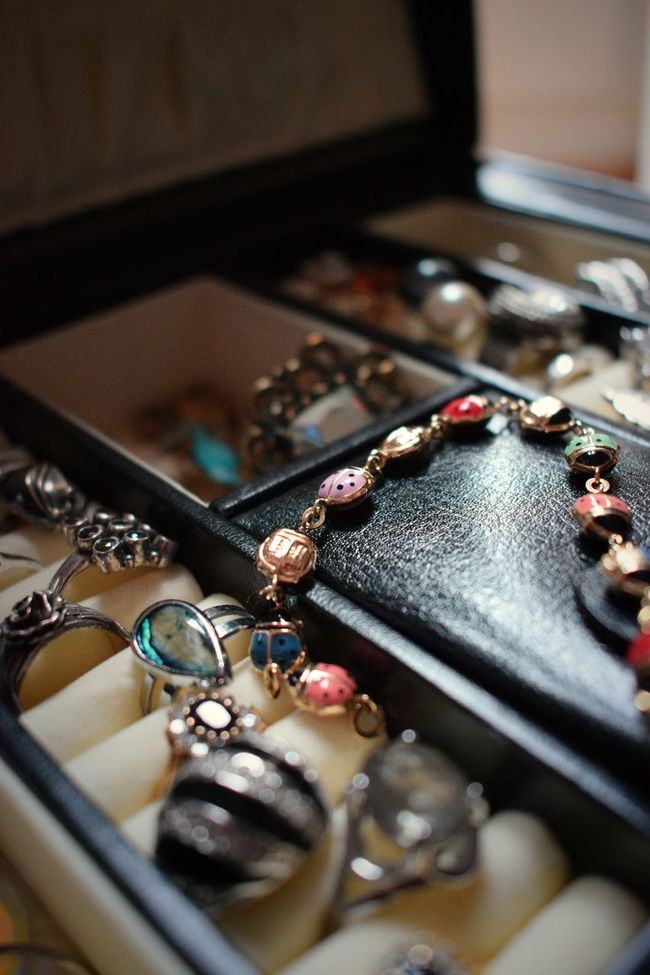 Accessories Bracelet Close-up Detail Fashion Gold Jewellery Jewellery Box Jewels Ladybird Leather No People Ring Rings Selective Focus Sentimental Stones Treasures Trinkets