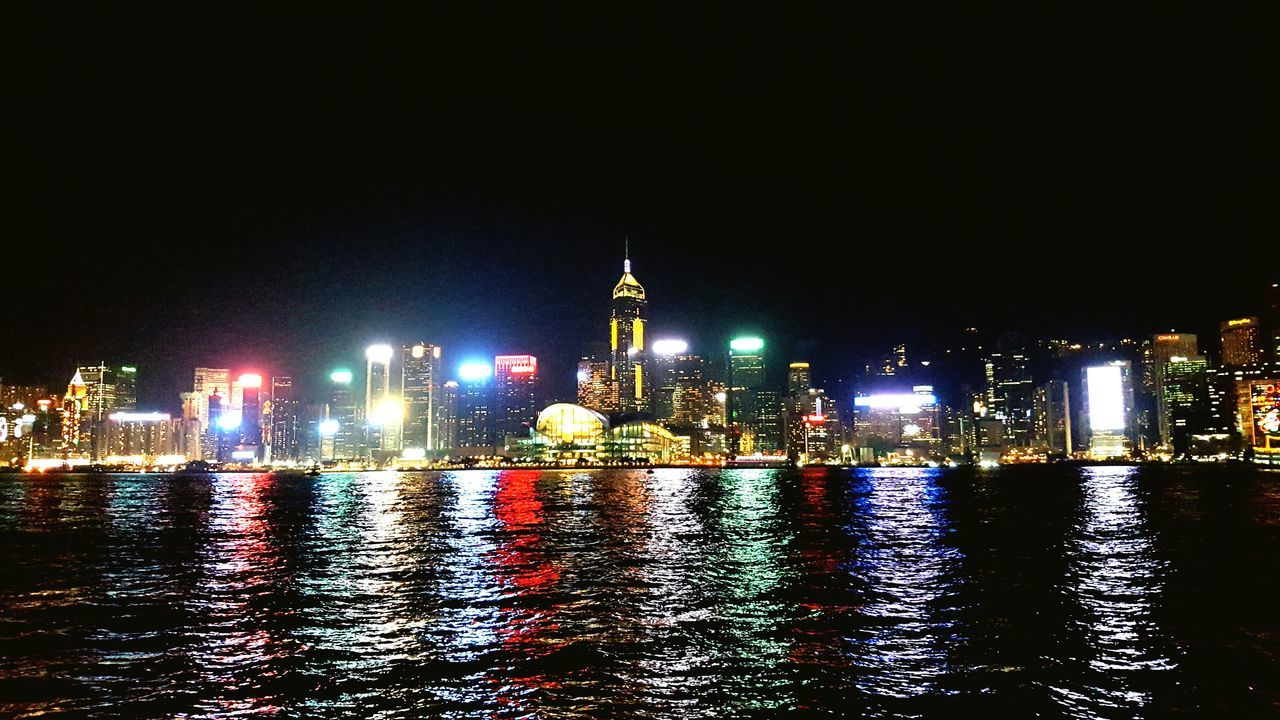 HongKong Hong Kong Victoria Harbour Hongkong By Night Illuminated Reflection Waterfront Cityscape Urban Skyline Skyscraper Victoria Harbour