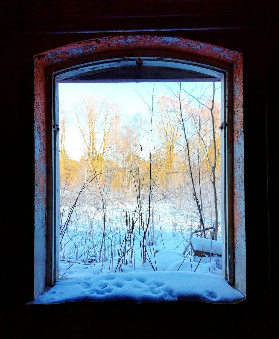 Cold Temperature Winter No People Day Architecture Abandoned Places Frames ArtOfNature Noglass Window Window View Old Buildings Ramshackle Decay See Through Look Through